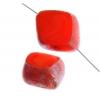Fire polished 24x20mm Cut Diamond Red Silk Marble Edge